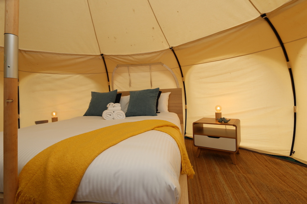 Daylesford-Glamping-Serenity-- Queen Bed and side table close up