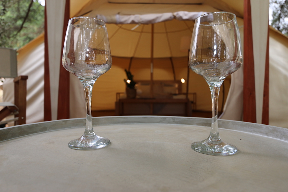 Daylesford-Glamping-Tranquility-Close-up wine glasses on deck