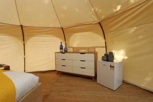 Daylesford-Glamping-Serenity-- Interior Corner Bed to Dresser & Bar Fridge
