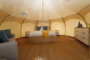 Daylesford-Glamping-Serenity-- Interior wide with Dresser