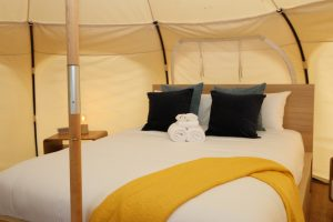 Daylesford-Glamping-Serenity-- Luxurious Queen Bed from Pole View