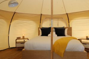 Daylesford-Glamping-Serenity-- Queen Bed and Side Tables Wide View