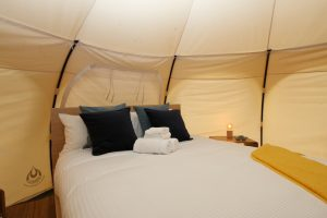 Daylesford-Glamping-Serenity-Queen Bed with Luxe Linen Close Up