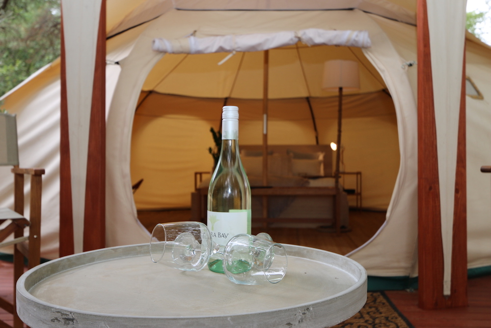 Daylesford-Glamping-Tranquility-Alfresco Wine on the deck