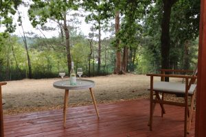 Daylesford-Glamping-Tranquility-View to Trees with Alfresco Wine